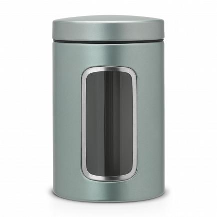 Контейнер для сыпучих продуктов с окном Brabantia Metallic Mint 1,4л 484360