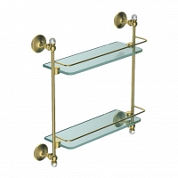 Двойная стеклянная полка Art&Max Antic Crystal золото