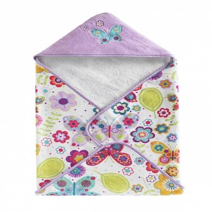 Полотенце банное Kassatex Bambini Hooded Butterflies 76х76см BHD-BUT-MUL