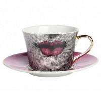 Чайная пара Faces Piero Fornasetti Pink DG Home Tableware