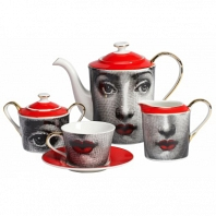Чайный сервиз Faces Piero Fornasetti Red DG Home Tableware