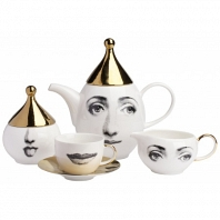 Чайный сервиз Faces Piero Fornasetti Gold на 4 персоны DG Home Tableware
