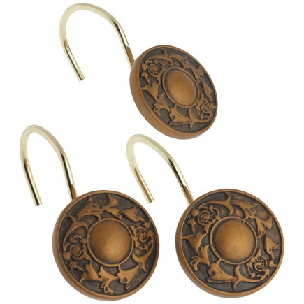 Набор из 12 крючков для шторки Carnation Home Fashions Regency Bronze PHP-REG/23
