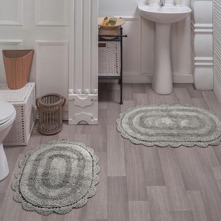 Набор ковриков для ванной кружевной Sofi de Marko Bath Mats Diana S.044серое