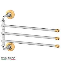 Держатель полотенец 3SC Stilmar Chrome-Gold поворотный тройной 35 см