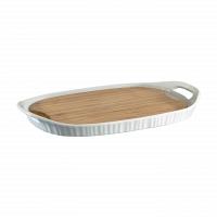 Форма прямоугольная с бамбуковой доской CorningWare French White 40х25см
