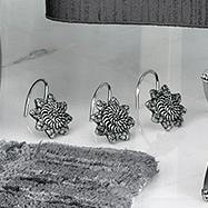 Набор из 12 крючков для шторки Avanti Braided Medallion Silver