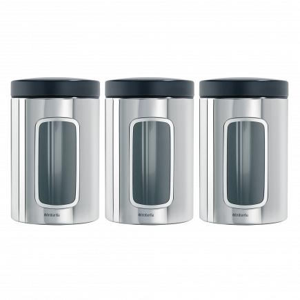 Набор контейнеров с окном 3пр. Brabantia Canister 1,4л 247286