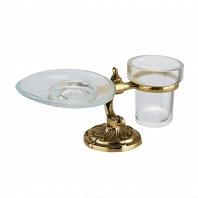 Стакан и мыльница настольные Art&Max Barocco Crystal Античное золото