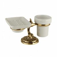 Стакан и мыльница настольные Art&Max Barocco Античное золото