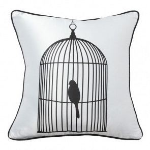 Подушка с принтом Birdie In A Cage White DG Home Pillows DG-D-PL14W