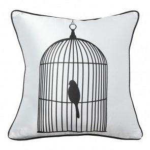 Подушка с принтом Birdie In A Cage White DG Home Pillows DG-D-PL14W