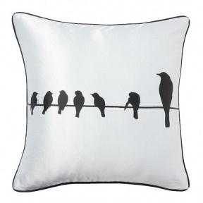 Подушка с принтом Birdies On A Wire White DG Home Pillows DG-D-PL17W