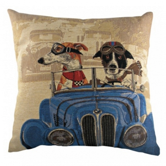Подушка с принтом Doggie Drivers Blue DG Home Pillows DG-D-PL268