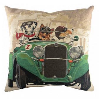 Подушка с принтом Doggie Drivers Green DG Home Pillows DG-D-PL269