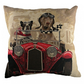 Подушка с принтом Doggie Drivers Red DG Home Pillows DG-D-PL270