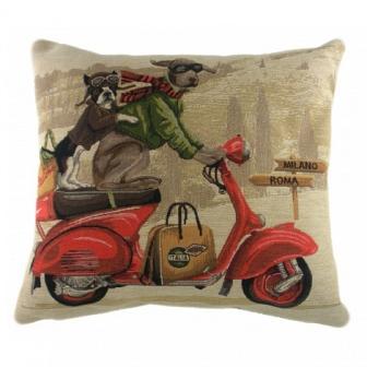 Подушка с принтом Scooter Dogs Red DG Home Pillows DG-D-PL313
