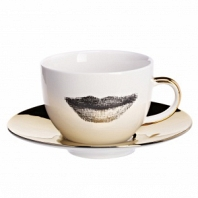 Чайная пара Faces Piero Fornasetti Gold DG Home Tableware
