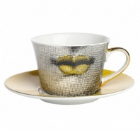 Чайная пара Faces Piero Fornasetti Amber DG Home Tableware