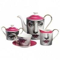 Чайный сервиз Faces Piero Fornasetti Pink DG Home Tableware