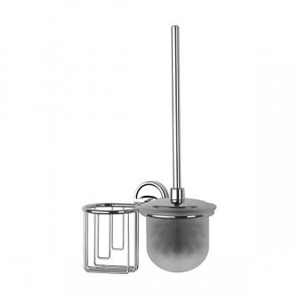 Ершик для туалета FBS Ellea с крышкой и держателем освежителя ELL 058